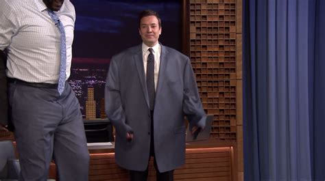 jimmy fallon tracy shaq s clothing is a bit big for jimmy fallon nba