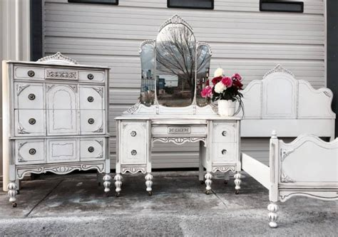 bedroom furniture set in snow white milk paint and