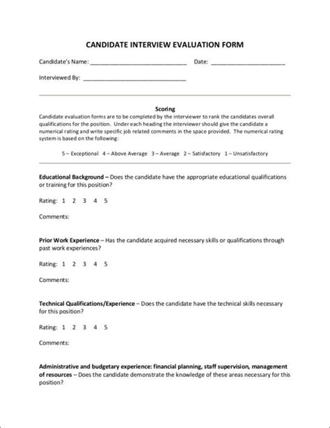 candidate evaluation form template importance of an employee evaluation 10 downloadable