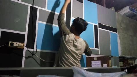 lukis tembok motif kotak kotak youtube