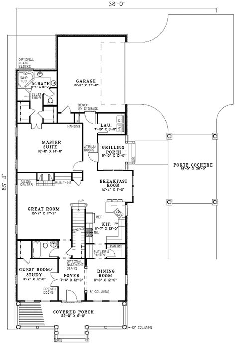 House Plans With Porte Cochere by Timeless Porte Cochere 59294nd 1st Floor Master Suite