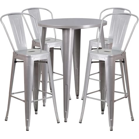 metal bar table set 30 silver metal indoor outdoor bar table set with