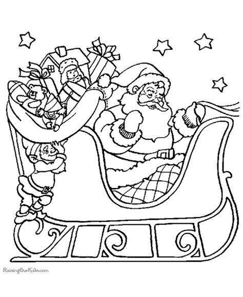 Coloring Page Of Santa In His Sleigh | santa and sleigh coloring sheets