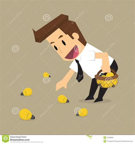 collect this idea businessman collect money bill from tree cartoon vector