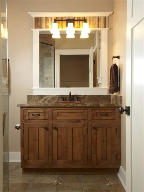 mission style bathroom mirror love the crown above the light fixture love that the