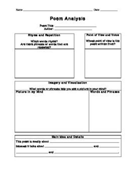 poetrys analysis template student centered resources poetry and student on