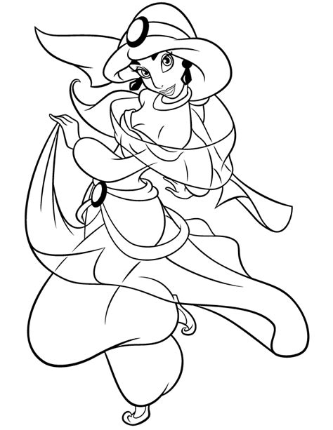 pretty princess jasmine from aladdin cartoon coloring page