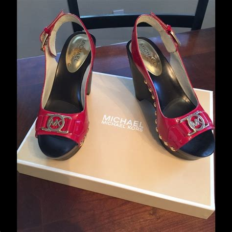 Mk B698 7 Wedges Shoes michael kors nwt patent mk wedge sandal 5 5 from