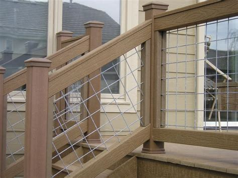 wire banister hog wire deck railing plans google search outdoor