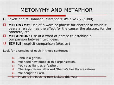 notes on metaphor and metonymy