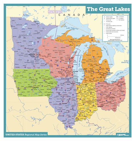 map of united states with great lakes great lakes states wall map maps