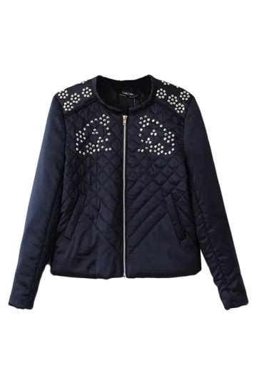 Jacket Flowers Import black womens flowers studded cotton cool sleeves