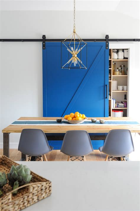 Barn Wood Tables Pantry With Blue Barn Door Transitional Dining Room