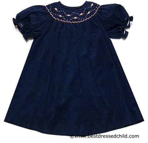 luli me baby toddler navy blue corduroy smocked