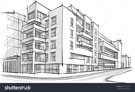 sketches of buildings architecture sketch drawing buildingcity stock vector 179448743 drawing