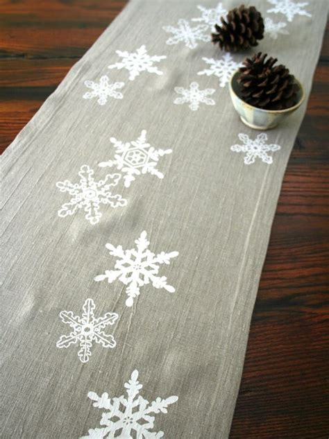 Snowflake Table Linens - linen snowflake table runner hand screen printed pony and poppy via etsy table decoration
