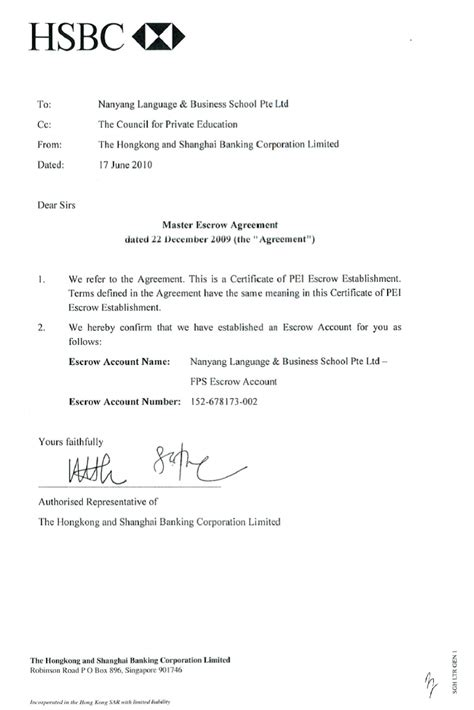 certification letter hsbc fee protection scheme nanyang language and business