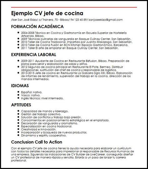 Modelo Cv Ingles Hosteleria Ejemplo Cv Jefe De Cocina Micvideal