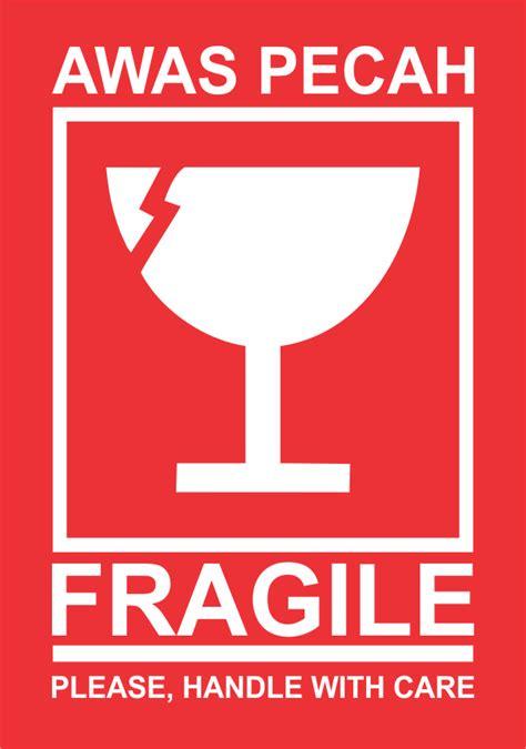 Stiker Fragile Ukuran 4 9 X 2 4 Cm jual sticker fragile stiker awas barang pecah belah die cut bekasi printing