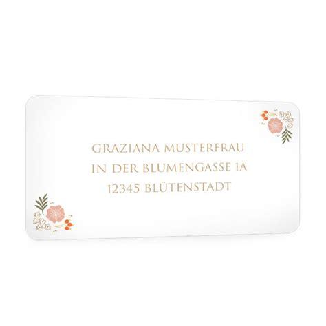 Adressaufkleber Creme adressaufkleber zur hochzeitseinladung in creme mit bl 252 ten