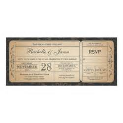 vintage wedding ticket invitation with rsvp 3 0 4 quot x 9 25 quot invitation card zazzle