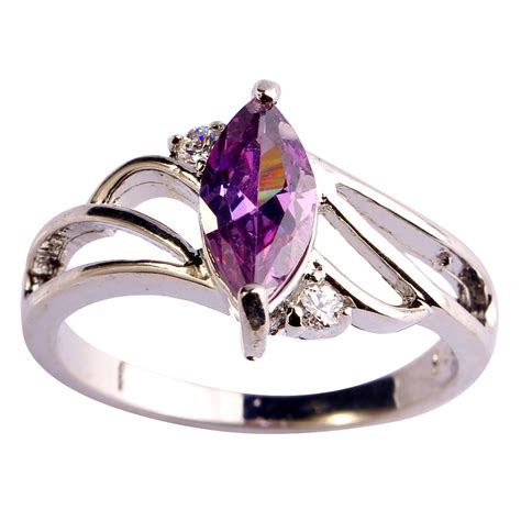 gems for jewelry aaa cz new jewelry purple cz gems plated silver ring size6