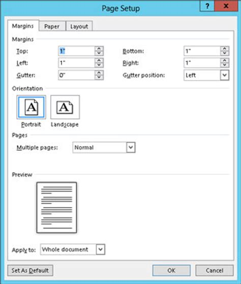 layout dialogue box word 2013 how to use the page setup dialog box in word 2013 dummies