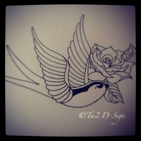 swallow and rose tattoo and oldschool custom ta2 d sign