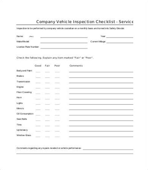 Vehicle Checklist Templates 14 Free Pdf Documents Download Free Premium Templates Vehicle Safety Inspection Checklist Template
