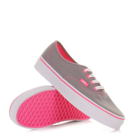womens vans authentic neon pop grey pink shoes