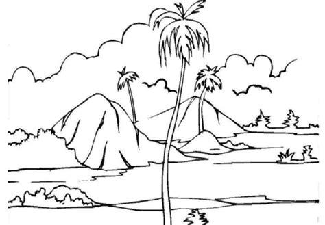 kumpulan gambar sketsa mewarnai pemandangan alam pegunungan si gambar