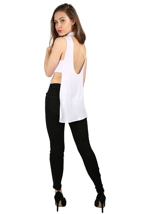 ladies back side images womens ladies sleeveless high neck plain stretch low back