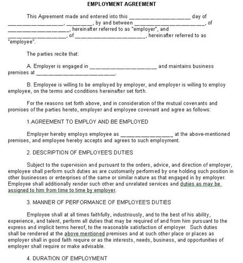 Employment Agreements Template by 10 Best Images Of Work Contract Agreement Form Real