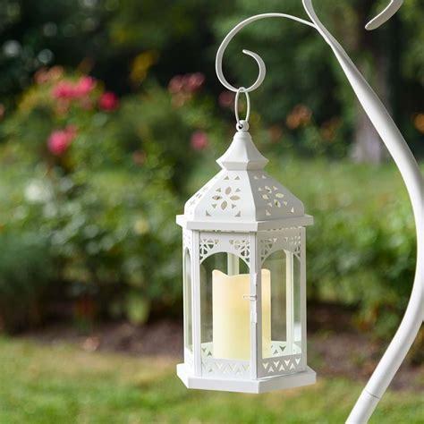 lanterne hexagonale en verre  metal blanc   cm avec