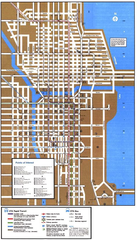 downtown chicago map chicago l org system maps route maps