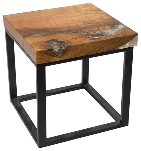 Resin Side Table by Square Cracked Resin Side Table Modern Side Tables And