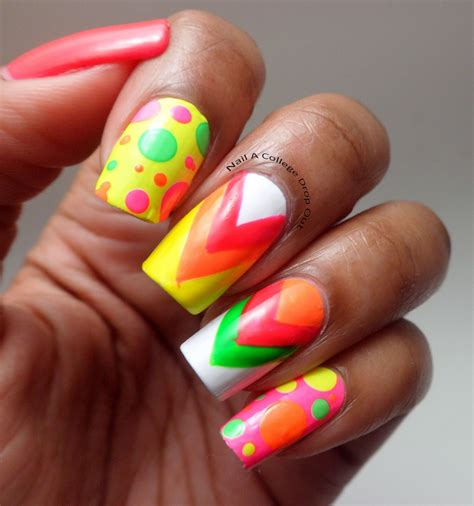 neon pattern nails neon nail art nail fabulous pinterest