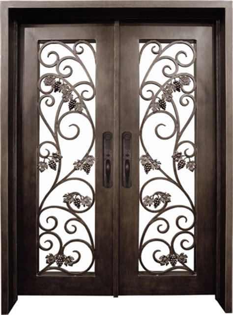 Wine Cellar Doors Wrought Iron - square top double wine cellar grape leaves solid iron doors