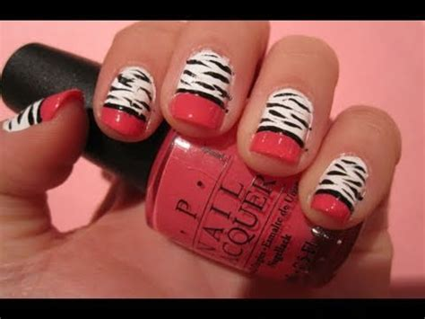 tutorial nail art zebra tutorial zebra nail art with hot pink tips youtube