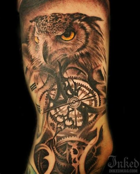 owl tattoo clock eyes related keywords suggestions for owl arm tattoo clock