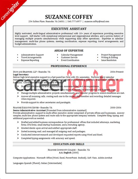 Executive Administrative Assistant Resume by Executive Assistant Resume Sle Career Igniter