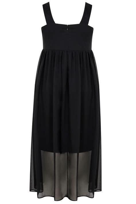 Sale Id 321 Faces Print Dress schwarz chiffon maxi kleid mit spitze in gro 223 en gr 246 223 en 44 64