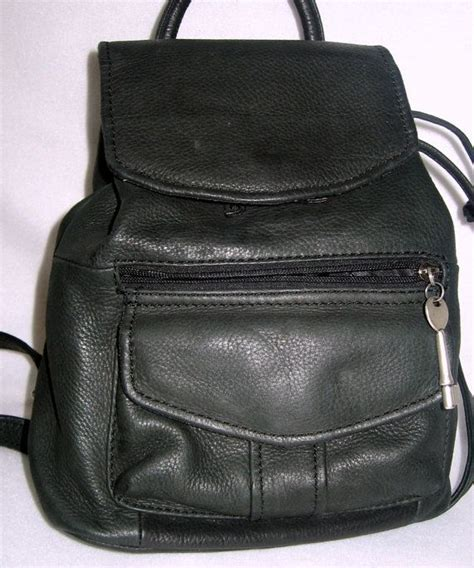 Fossil Back Pack authentic vintage fossil black leather backpack bag 1990 s