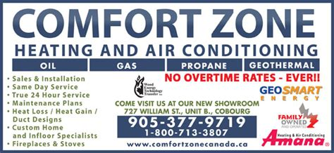 comfort zone heating air conditioning cobourg on