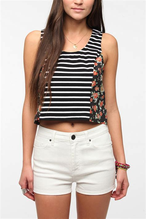 swing crop top urban outfitters pins and needles mixprint swing cropped