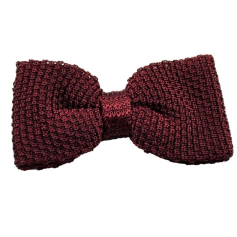 knitted silk bow tie plain burgundy silk knitted bow tie from ties planet uk