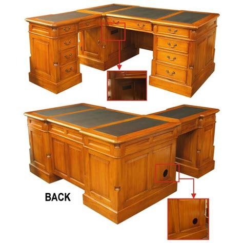 Corner Shaped Desk L Shaped Corner Partners Desk In Solid Maghogany Wd167 Akd Furniture
