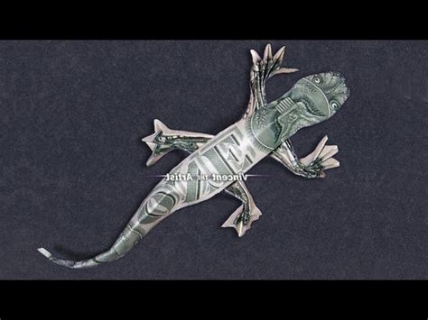 Lizard Origami - money origami lizard dollar bill my crafts and diy