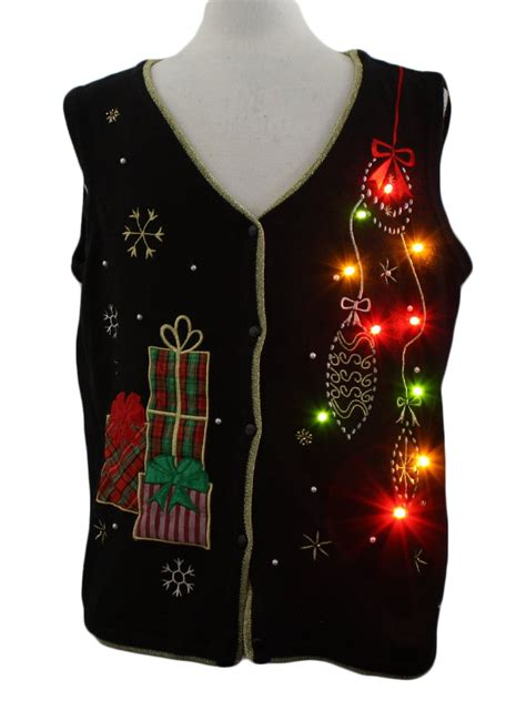lightup ugly christmas sweater vest pinecone symbol