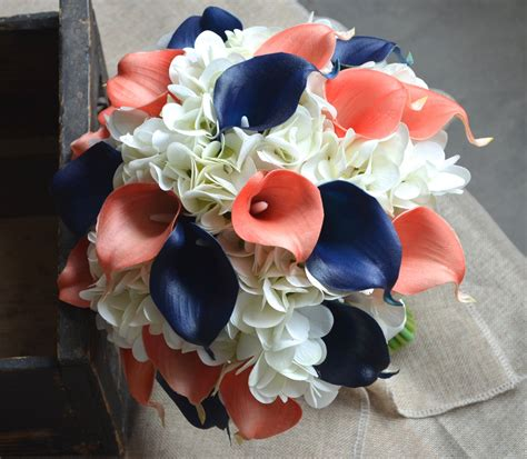 coral flowers coral navy blue coral and navy blue wedding flowers www imgkid the